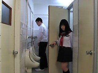 Japanese schoolgirl, Sayaka Aishiro gives great handjobs to